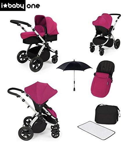 Sistema Trio Ibaby One: Passeggino + Carrozzina Morbida + Seggiolino per Auto di Gruppo 0, Colore Pink