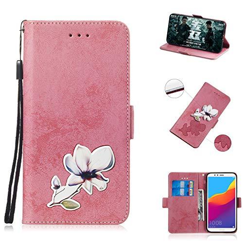 BONROY Coque, PU Etui en Cuir Portefeuille de Protection,Emplacements Cartes avec Fonction Support et Languette Magnétique pour Huawei Y6 Prime 2018/Honor 7A Prime-(TX-Pink)