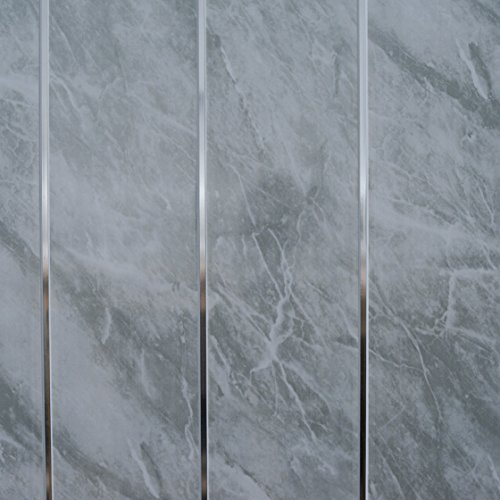 Grey marble bathroom wall panels splashbacks with chrome silver strips, Cladding panels splashbacks used in kitchen, office ceiling and walls, perfect for wet walls in shower, pvc plastic 100% waterproof by Claddtech (30 panels splashbacks)