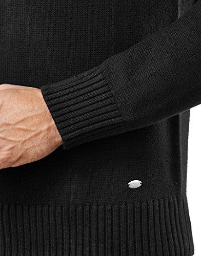 Vincenzo Boretti Herren-Pullover Troyer mit Stehkragen slim-fit tailliert Strick-Pullover einfarbig Baumwolle-Mix edel elegant warm dick Grob-Strick für Business oder Casual Schwarz