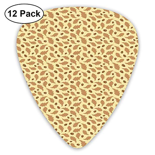 Guitar Picks12pcs Plectrum (0.46mm-0.96mm), Hand-Drawn Fall Season Foliage Pattern With Curvy Oak Leaves And Acorn,For Your Guitar or Ukulele -