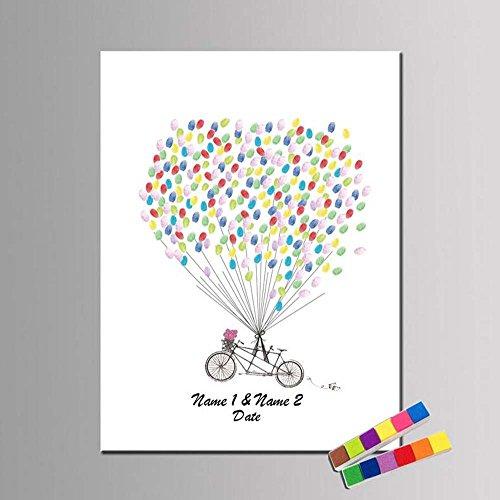 AXS Leinwand auf Rolle Personalisierten Fingerabdruck Malerei Leinwand -Retro Fahrrad Ballon Wasserdichtes Segeltuch(enthält 12 Tinte Farben), 40*60