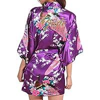 Kunfang Azul Marino Mujer Rayon Sexy Mini Kimono Dresse Boda Novia Bata Camisón Floral Peacock Kimono