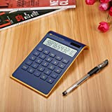 Caveen Taschenrechner Standard Business Tischrechner Schwarz/Weiß Dual-Power (Solar und Batterie) Dunkel blau