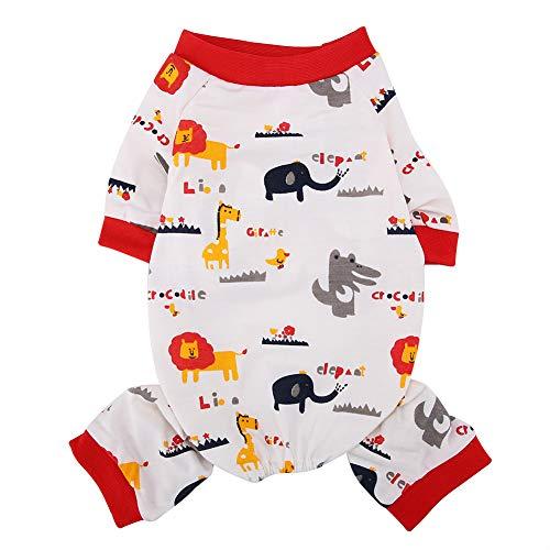 Fdit Pijama para Mascotas Ropa de Algodón Transpirable Suave con Dibujos Animados Elefante Manga Corta para Perros Gatos Monos(L)
