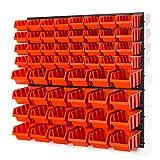 60 tlg Wandregal Lagerregal Stapelboxen Gr.2, Gr.3 orange Regal Lager Garage