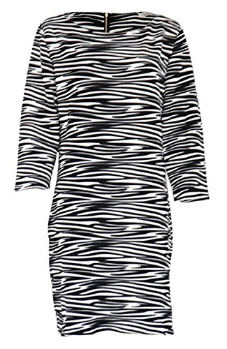 Robe Genoux Gaufrée Motif Zèbre Noir
