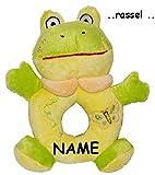 Unbekannt Babyrassel / Greifring -  Frosch  - incl. Name - Rassel aus Plüsch - Ring / Stofftier - Stoffspielzeug - Ringrassel - Baby Klapper Tiere - Kuscheltier - Sch..