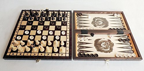 3 in 1 - Ajedrez De Madera Backgammon Damas SET - MEDIO