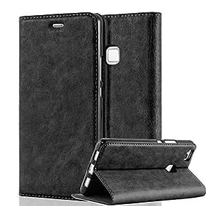Cadorabo - Custodia Book Style perr Huawei P9 LITE Design Portafoglio con Chiusura Magnetica Invisible, Supporto Funzione e Vani di Carte - Etui Case Cover Involucro Bumper in NERO-DI-NOTTE
