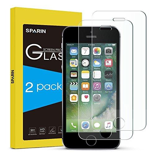 [2-Pack] Protector de Pantalla iPhone SE,SPARIN® Protector Cristal Templado para iPhone SE/5/5s/5c,Vidrio Templado con [Alta Dureza][Alta Transparencia][Sin Burbujas][Garantía de por vida]