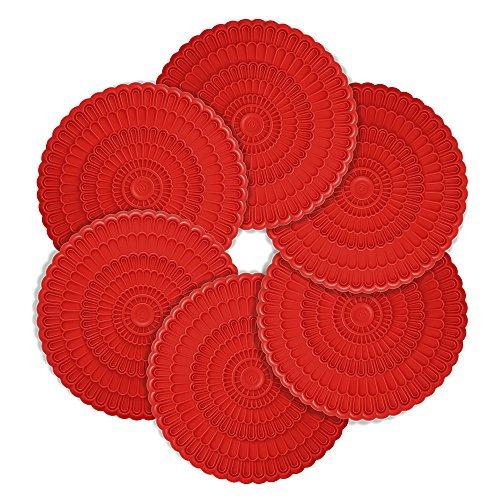 zanmini Sottobicchieri in Silicone Coaster Set di 6(Rosso)