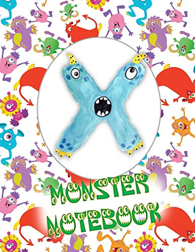 X Monster Notebook: Kids Monogrammed Journal and Doodle Book