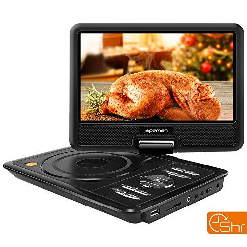 APEMAN 9,5'' Tragbarer DVD-Player mit 5 Stunden Akku Drehbarem Display Unterstützt SD-Karte USB AV OUT/IN Spiele-Joystick