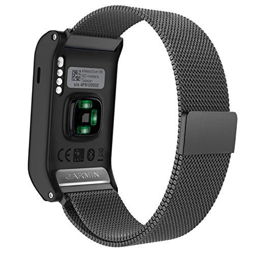 MoKo Garmin vívoactive HR Armband - Edelstahl Milanese Magnet Uhr Band Strap Uhrenarmband Erstatzband Replacement für Garmin vívoactive HR Sport GPS-Smartwatch, Schwarz