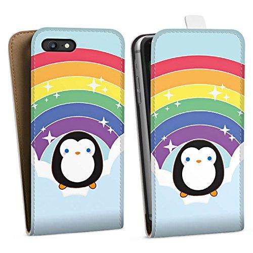 Apple iPhone X Silikon Hülle Case Schutzhülle Regenbogen Pinguin Wolken Downflip Tasche weiß