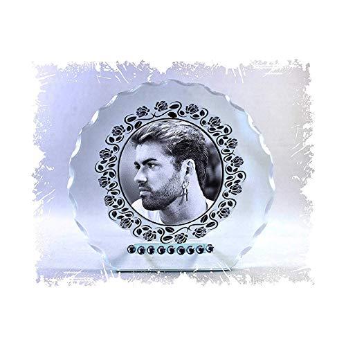 GEORGE MICHAEL schwarz & weiß Foto Schnitt Glas rund Rahmen Plaque besonderen Anlass Limited Edition
