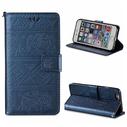 Voguecase® Pour Apple iPhone 6/6s 4,7 Coque, Étui en cuir synthétique chic avec fonction support pratique pour iPhone 6/6s 4,7 (éléphant-Violet)de Gratuit stylet l'écran aléatoire universelle éléphant-Bleu