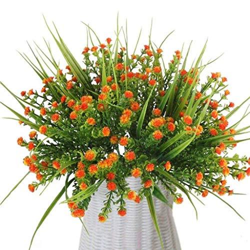 Lvcky 4PCS Künstliche Outdoor Pflanzen Fake Kunststoff Blumen Real Touch Greenery Gladiolen Orange Blume für Hochzeit Küche Home Office Indoor Grave Tisch Mittelpunkt Dekoration