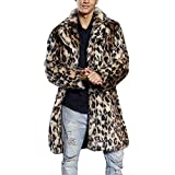 FIRSS Männer Leoparden Wintermantel Pelzkragen Kunstpelz Cardigan Wolljacken Dicker Wintermantel Warme Kunstfell Retro Trenchcoat