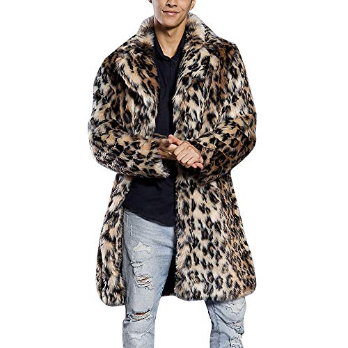 Batnott Herren Leopard Warm dicken Pelzkragen Coole Stilvoll Modish Mantel Jacke Faux Fur Parka Outwear Strickjacke Männer Herbst Winter Täglich - Zuhälter Kostüm