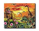 shukqueen DIY Ölgemälde, Erwachsene 's Malen nach Zahlen Kits, Acryl Gemälde Jurassic Park 40,6x 50,8cm, Framed Canvas