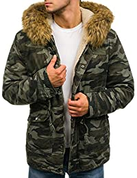 BOLF – Parka d'hiver – avec capuche – fausse fourrure - rembourré – motif camo – Homme 4D4