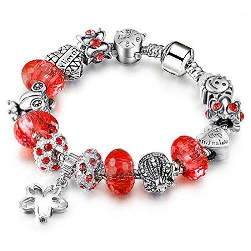 Akkki Beads Armband Strass Bettel Armreif Silber Anhänger Steine Schwarz Weiß Rot Kompatibel Blume Komplet mit Charms Sterne Perlen Damen Frauen Schmuck Kette Bänder Geschenk modele herz tiere passend (Gabbana Tier)
