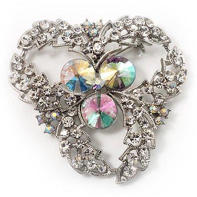 Broche cristal vintage Classe Aurora Borealis