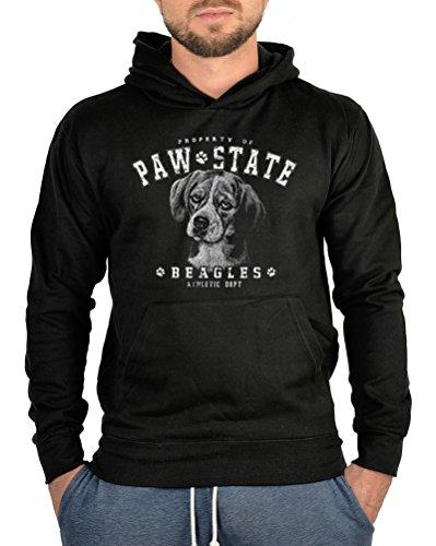 Beagle Kapuzen Sweater Hunde Motiv Hoodie Kapuzenpullover : Beagle -- bedruckter Hoodie Größe 3XL Farbe schwarz -