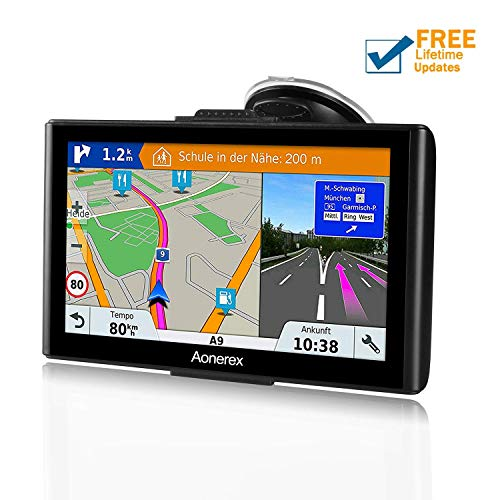 SAT NAV GPS Navigation System,7 inch HD Touch Screen+Satellite Navigator  Device with Post Code Search Speed Camera Alerts,Pre-installed UK and EU  Maps