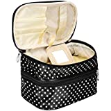 Womens Multi Functional Travel Cosmetic Storage Bags Women Makeup Organizer Toiletry Pouch (Black)