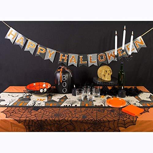 WDDqzf Dekoration Statuen Halloween-Spinnen-Tischdecke, Halloween-Spinnen-Rundes Netz-Tischdecken-Deckel-Kamin-Tabellen-Party-Dekor