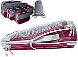 Packwürfel Set mit Kompression | Packing Cubes | Packtaschen Set & Gepäck Organizer für Rucksack, Koffer, Handgepäck & Co. | Extra leicht | Travel Dude (Weinrot, 7-teilig)