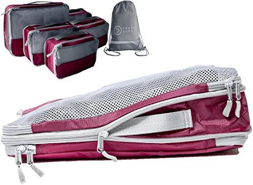 Packwürfel Set mit Kompression | Packing Cubes | Packtaschen Set & Gepäck Organizer für Rucksack & Koffer | Extra leichte Kleidertaschen | Travel Dude (Weinrot, 7-teilig)