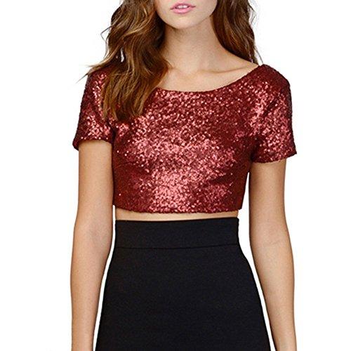 ROPALIA Damen Sequins Crop Top Sommer Kurzarm T-Shirts Blusen Red