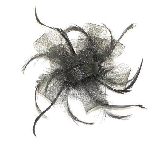 Nœud noir avec tulle renforcée et plumes sur peigne.