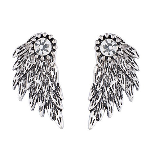 Pendientes para mujeres de lujo de UXELY, con diseño de alas de ángel retro, pendientes modernos de estilo gótico, pendientes con diamantes de imitación