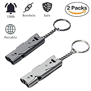 51MfzhxvLFL. SS300  - Sunerly Stainless Steel 2 Pack Emergency Whistle Double Tubes High Decibel Outdoor Survival Signal for Safety Life Saving Key Chain for Camping/Hiking