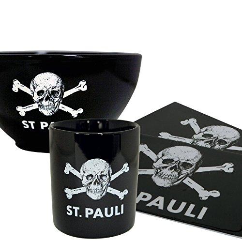 Schwarz Schneiden, Schüssel (FC St. Pauli Frühstücks-Set 4-teilig (aus Müslischüssel, Kaffebecher und 2 Brettchen) Totenkopf schwarz)