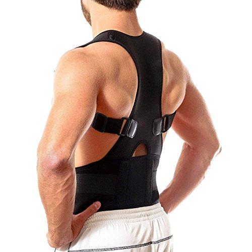 Ducomi Extreme Posture - Tutore Posturale Regolabile a Fascia Magnetica per Schiena - Bretella di Supporto e Sostegno Correttivo con 12 Magneti 800 Gauss (Black, S)