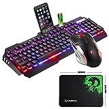 UrChoiceLtd Technologie Tastatur Maus Combo Wired Mixed RGB Hintergrundbeleuchtung Metall Usb Ergonomische Gaming Tastatur + 2400DPI Atmen Licht Optische Gamer Maus Sets + Mauspad für Laptop PC