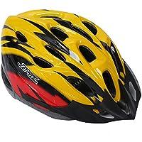 Casco - JSZ casco de bicicleta para los adultos hermoso casco de carbono con visera-amarillo + rojo