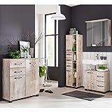 Komplett Badmöbel Set Findusschalung Waschbeckenschrank Spiegelschrank mit LED Beleuchtung Hochschrank Unterschrank Hängeschrank Kommode Türen mit Dämpfung