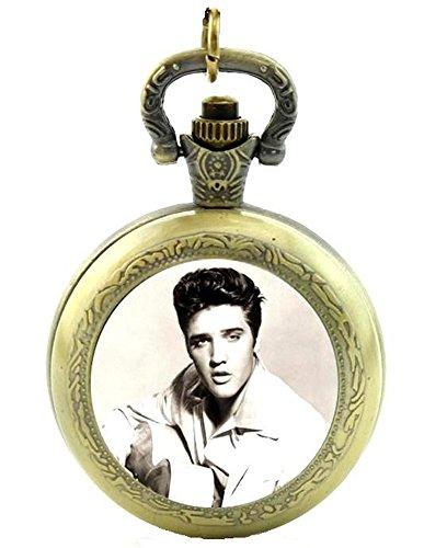 Elvis Presley King Of Rock N 'Roll Quarz Taschenuhr Halskette–Antik Bronze Effekt–in Geschenkbox mit gratis Ersatz Batterie (Dusche Roll-in)