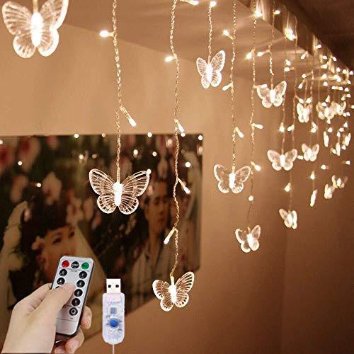 FANPING LED-Vorhang-Licht, Schmetterlings-Fee-Vorhang Lichter Fernbedienung Dekorative Fensterbeleuchtung, 8 Modi Wasserdicht-Fee-Schnur-Licht for Garten, Gazebo, Party, Innenhof und Mehr