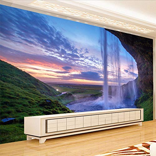 Preisvergleich Produktbild Yologg 3D Wallpaper Schöne Sonnenuntergang Wasserfall Foto Wandbild Wohnzimmer Esszimmer Hintergrund Tapeten Moderne Wohnkultur Fresken-400X280Cm