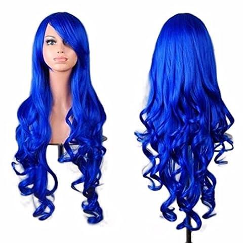 Vovotrade Femmes Lady Long Ondulé Cheveux Bouclés Anime Cosplay Partie Pleine Perruque_Bleu foncé