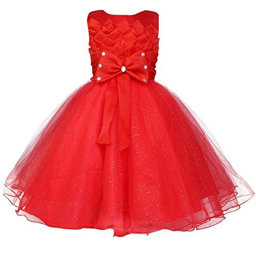 YiZYiF Baby Kleid Schleife Lotus Blumenmädchenkleid Gr. 74-116 Hochzeit Weihnachten Anzug Kleinkind Rot 98-104 (Herstellergröße:100)