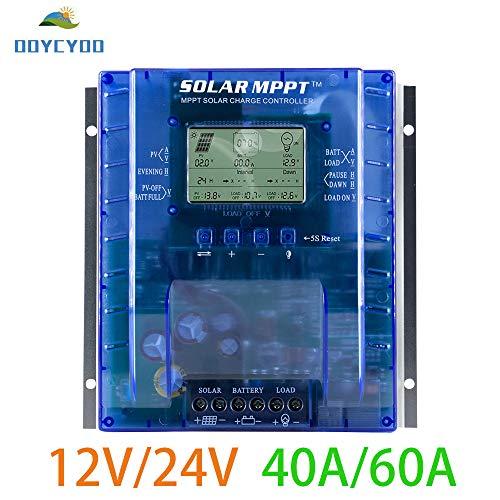 OOYCYOO 60A MPPT Solarladeregler Charge Controller Automatische Erkennung 12V/24V, Solarregler mit USB-Port Display für AGM-Gel versiegelte Batterie mit und Ladezeit-Einstellung(Aufgerüstet Version) Mppt-controller